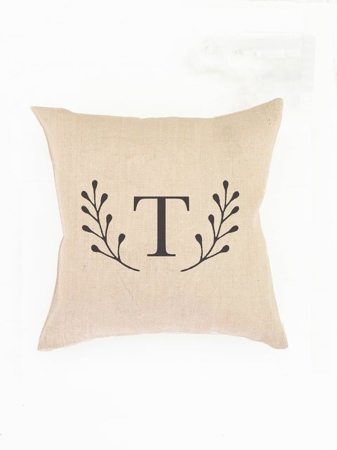 Laurel Leaf Monogram Pillow | Organic Canvas or Burlap | Outdoor Modern Farmhouse Pillows