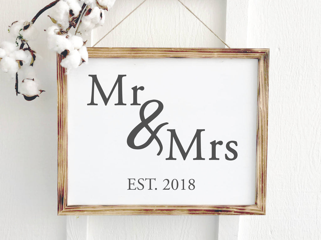 Mr and Mrs Wedding Date Sign