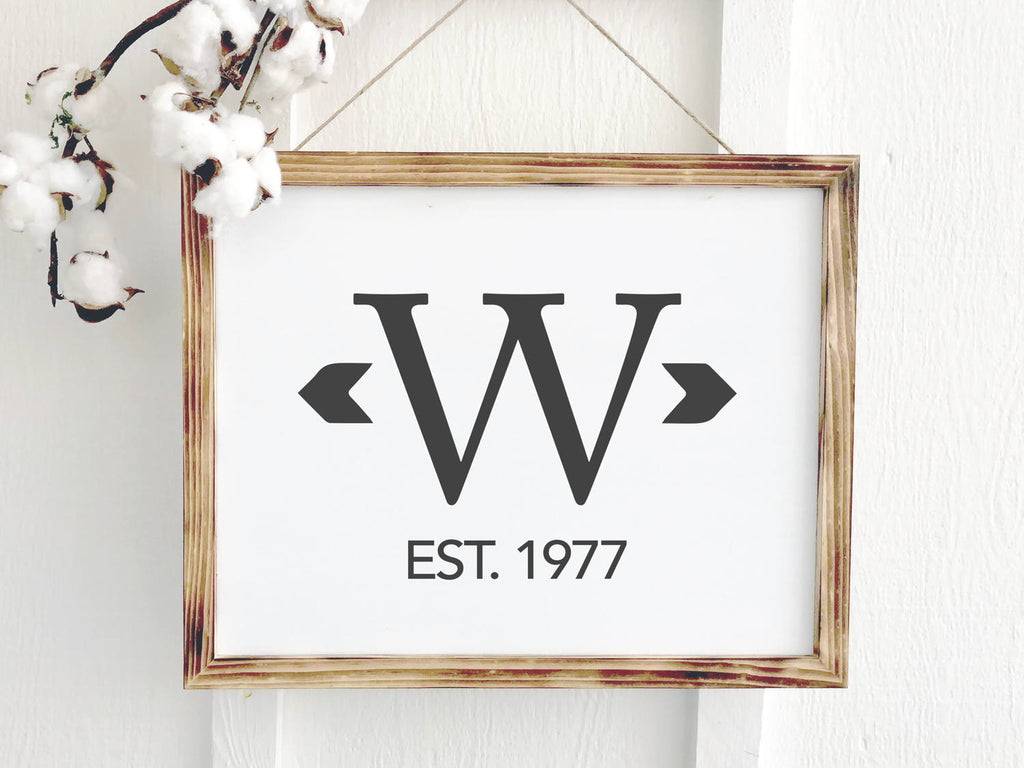 Monogrammed Farmhouse Sign with Established Date