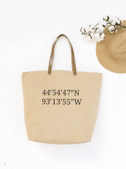Personalized Home Coordinates Burlap Bag