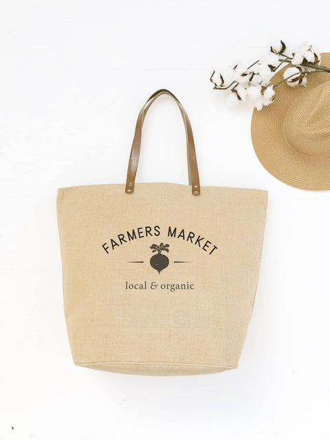 Farmers Market Tote | Market Bag | Grocery Tote Bag | Shopping Bag | Zip-Top Tote | Reusable Shopping Bag | Mom Gift from Daughter | Burlap