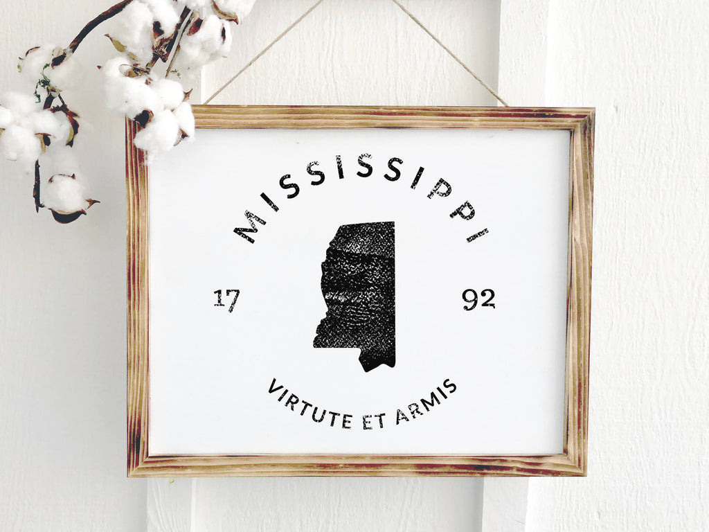 Mississippi Rustic Wooden Farmhouse Badge Sign