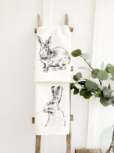 Set of 2 Bunny Towels Spring Tea Towels | Cotton Organic Towels |  Farmhouse Decor Kitchen Towels | Mothers Day Gift Ideas for Her