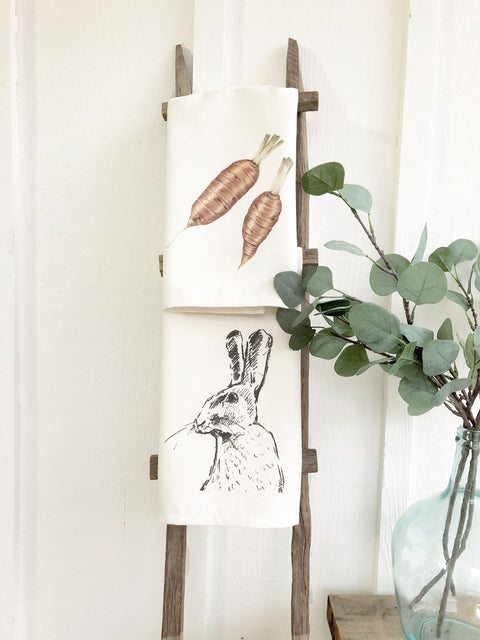 Set of 2 Spring Tea Towels Bunny and Carrots | Cotton Organic Towels |  Farmhouse Decor Kitchen Towels | Mothers Day Gift Ideas for Her