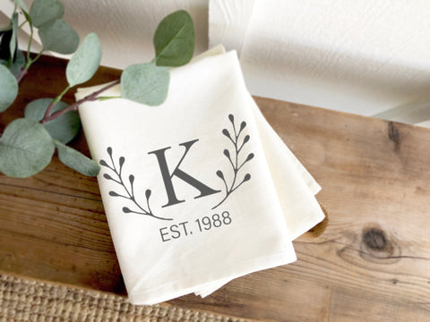 Laurel Monogram Bridal Shower Gifts for Bride | Monogram Cotton Hand Towel | Tea Towel | Gift for Sister | Mothers Day Gift for Mom
