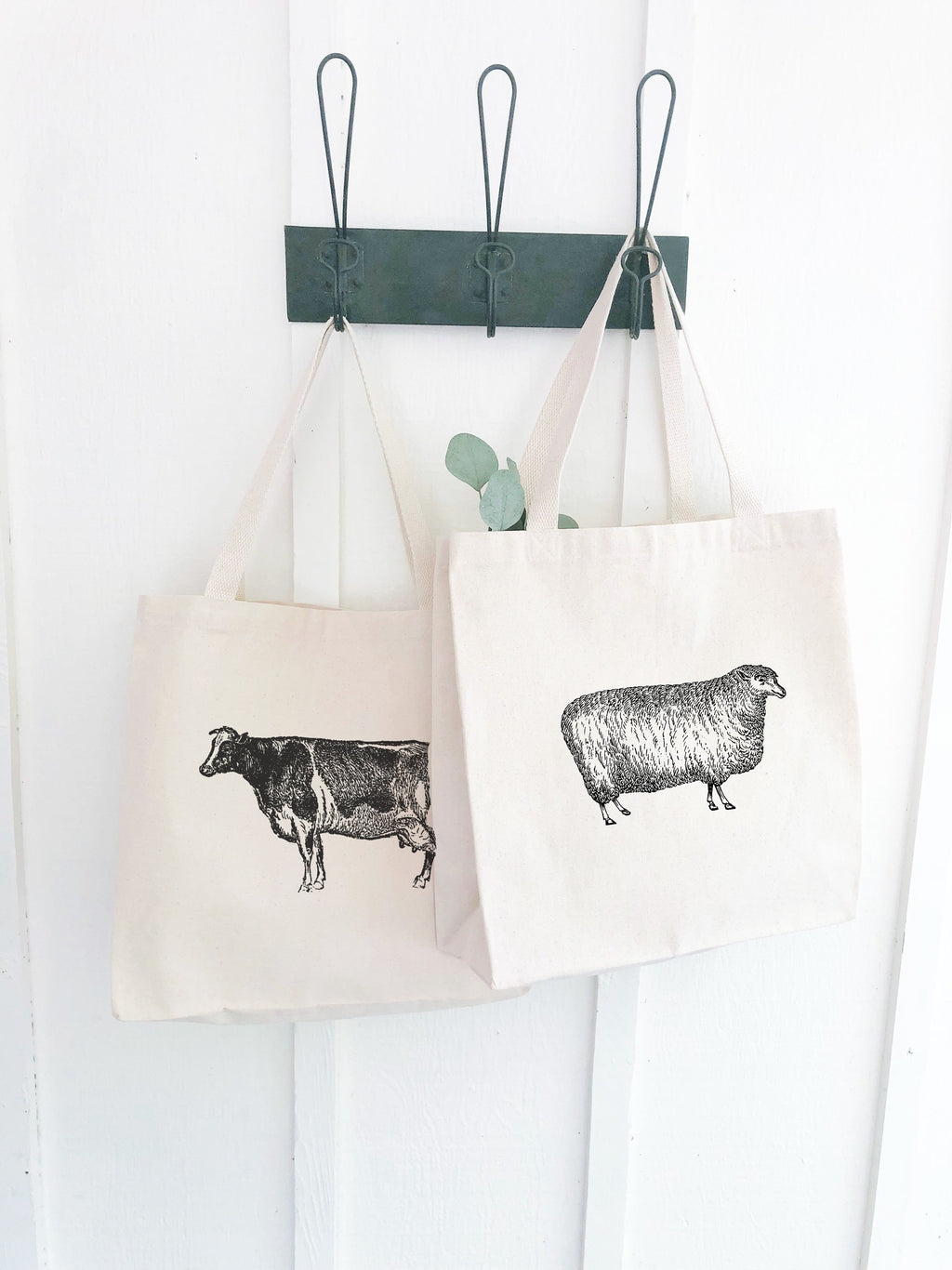 Set of Two Market Totes Vintage Farm Animal Illustrations, Foodie Gifts for Men, reusable grocery bag, Christmas gifts under 20, shop local