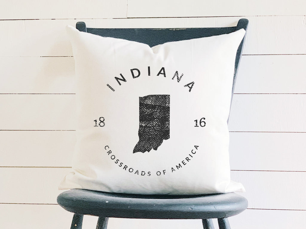 Indiana State Badge Pillow with State Motto and Established Date