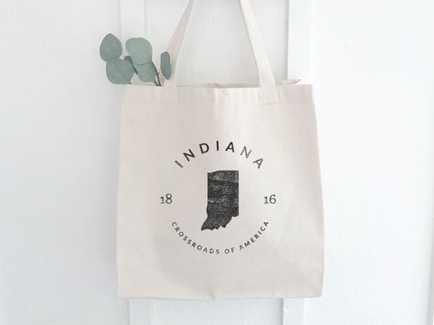 Indiana State Badge Canvas Tote Bag