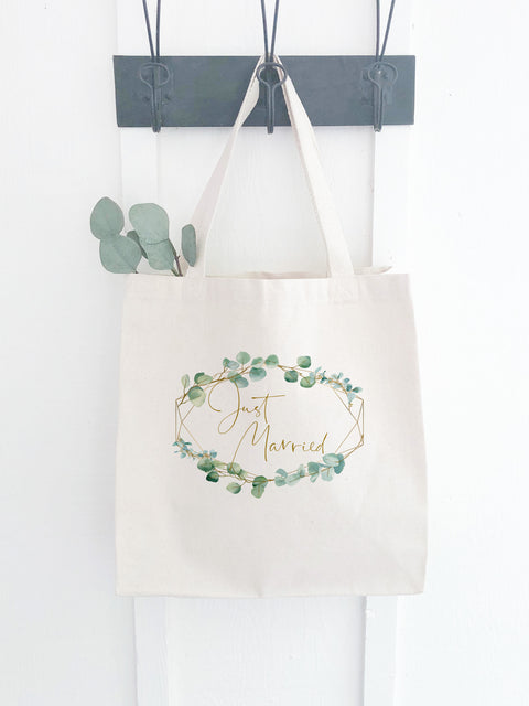 Canvas Just Married Bag with Eucalyptus Print