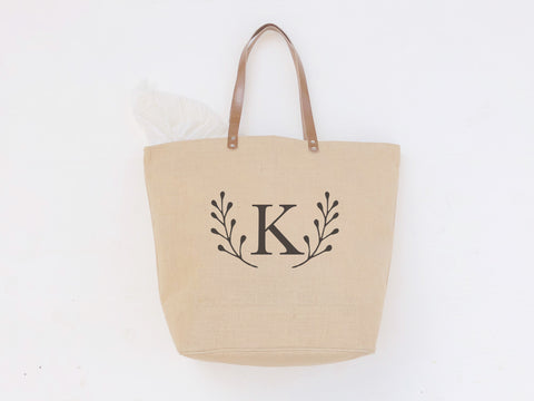 Laurel Leaf Monogrammed Tote Bag