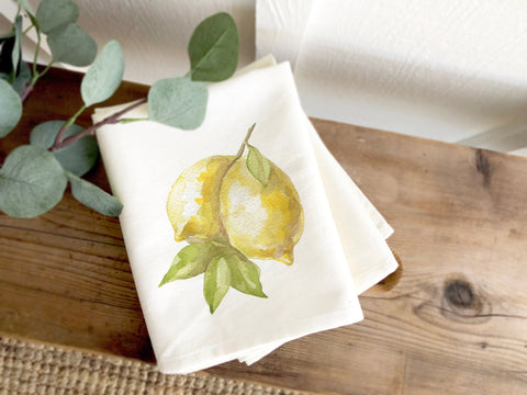 Watercolor Lemon Print Cotton Organic Tea Towel