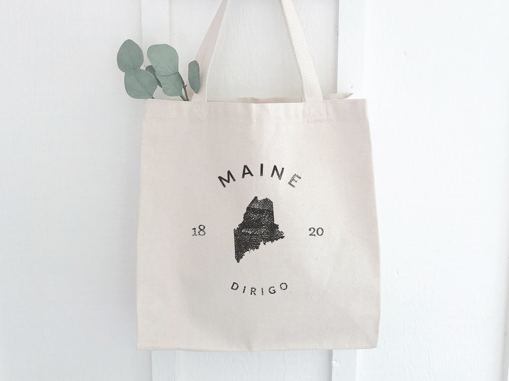 Maine State Badge Canvas Tote Bag