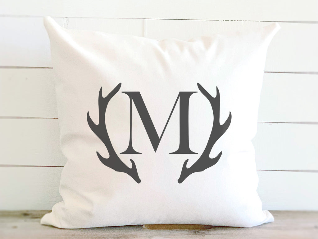 Deer Antler Monogram Canvas Pillow