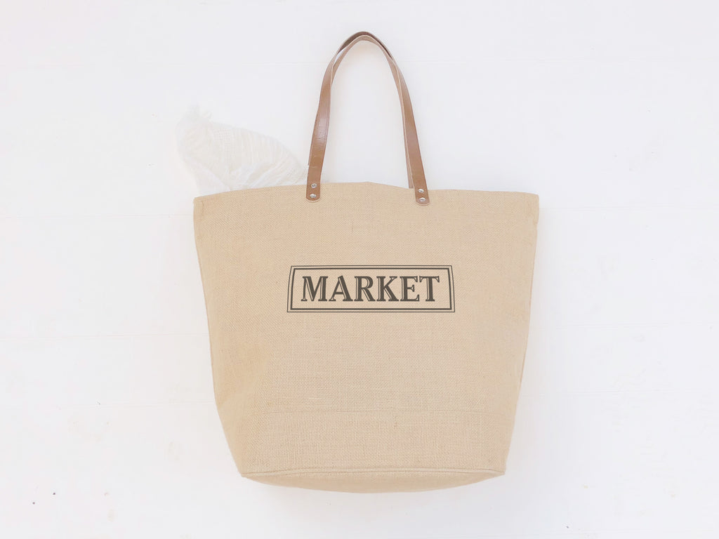 Market Tote Bag with Leather Handles