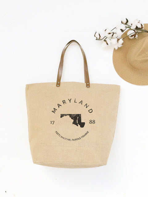 Maryland State Burlap Tote Bag
