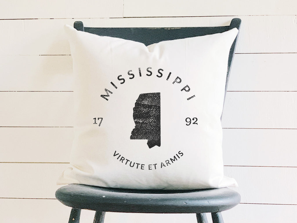 Mississippi State Badge Pillow with State Motto and Established Date