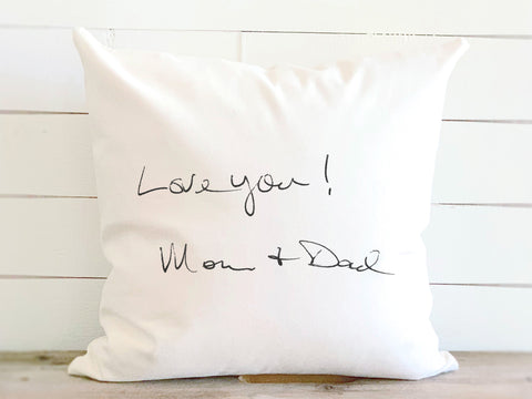 Your Actual Handwriting Print Canvas Pillow