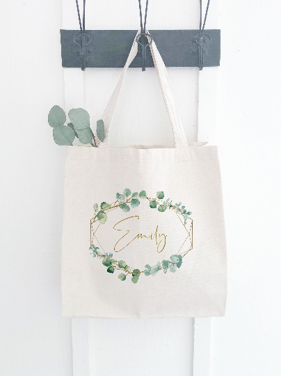 Personalized Canvas Bag with Eucalyptus Print