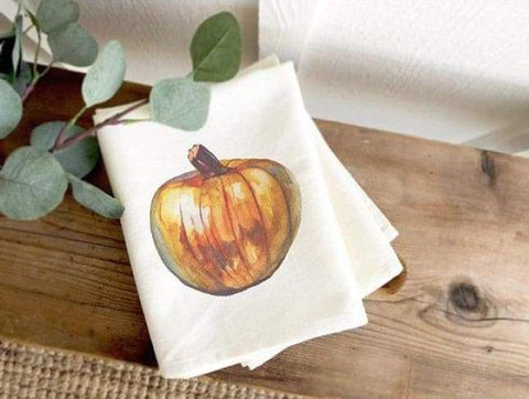 Watercolor Pumpkin Tea Towel