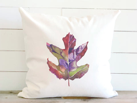 Watercolor Fall Leaf Pillow
