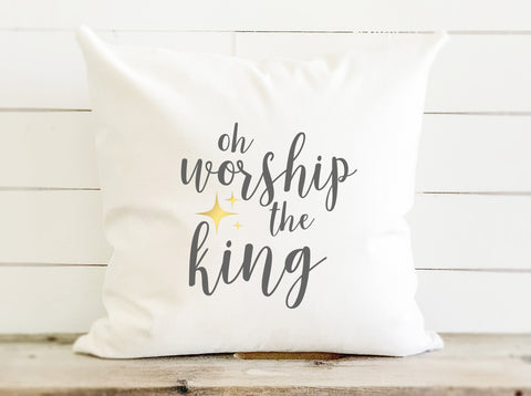 Oh Worship The King Canvas Christmas Pillow