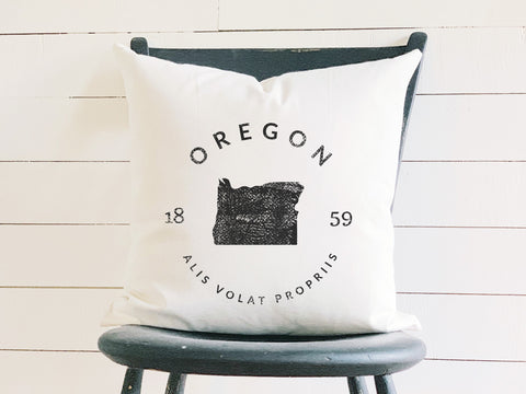 Oregon State Badge Pillow with State Motto and Established Date