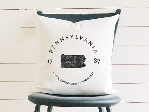 Pennsylvania State Badge Pillow with State Motto and Established Date