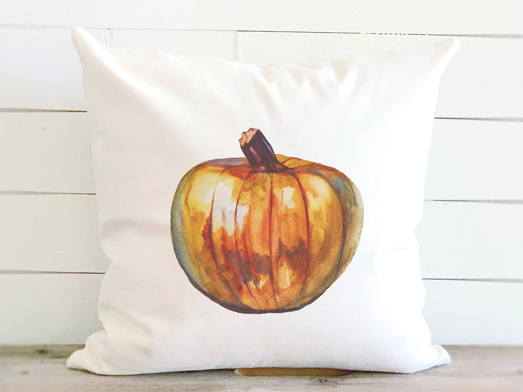 Watercolor Pumpkin Farmhouse Throw Pillow