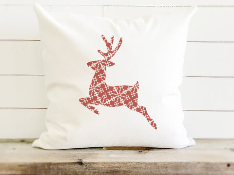 Patterned Reindeer Farmhouse Christmas Pillow