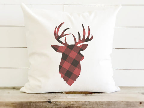 Plaid Stag Farmhouse Christmas Pillow