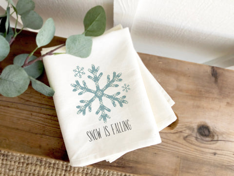 Snow Is Falling Holiday Tea Towel