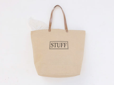 Stuff Burlap Tote Bag