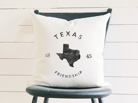 Texas State Badge Pillow with State Motto and Established Date