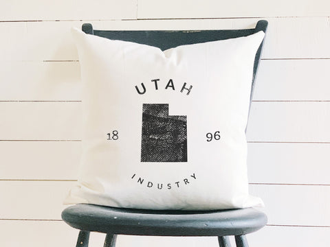 Utah State Badge Pillow with State Motto and Established Date