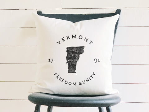 Vermont State Badge Pillow with State Motto and Established Date