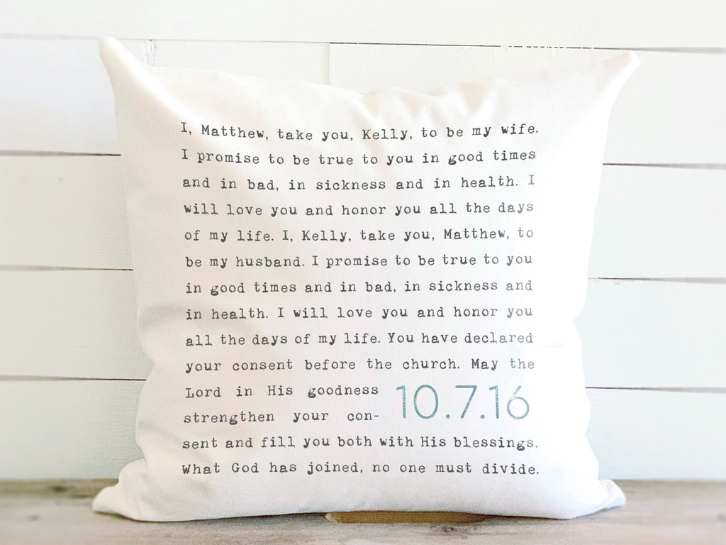 Personalized Custom Wedding Vows Pillow
