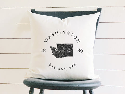 Washington State Badge Pillow with State Motto and Established Date