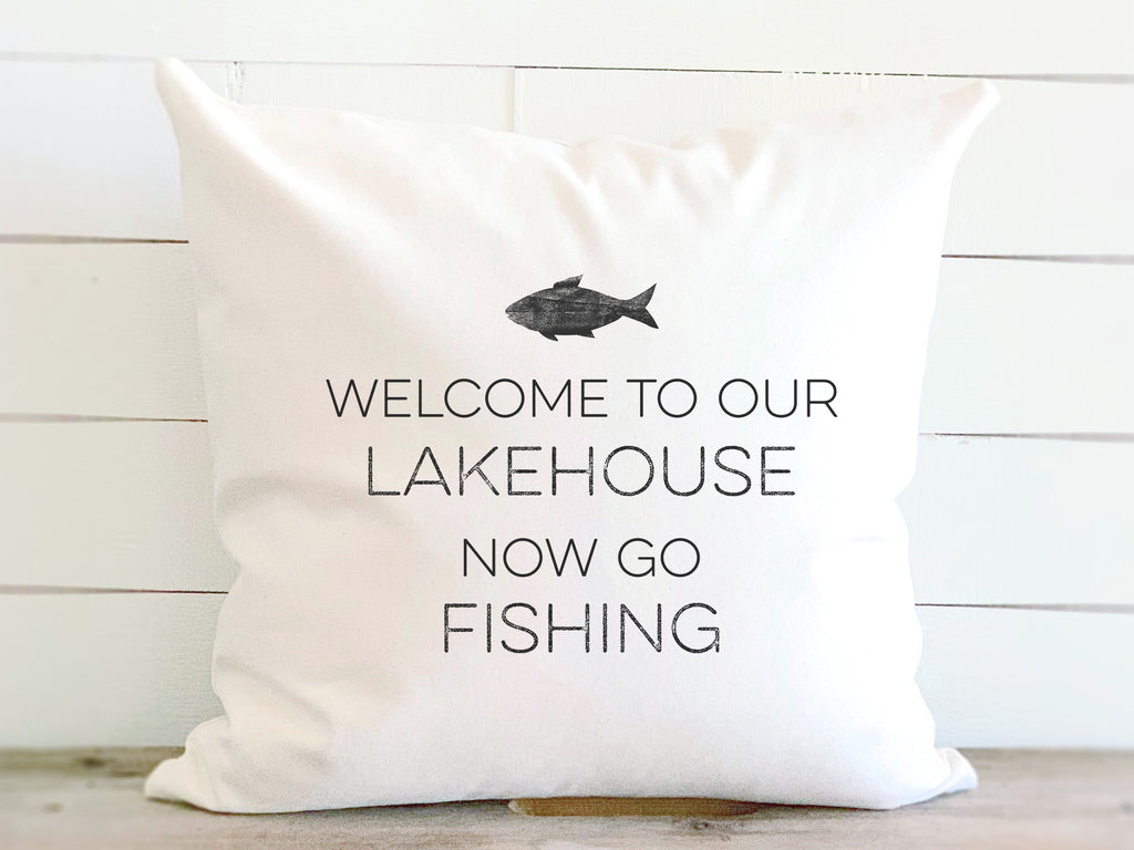 Welcome To Our LakeHouse Fish Pillow