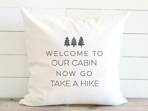 Welcome To Our Cabin Trees Pillow