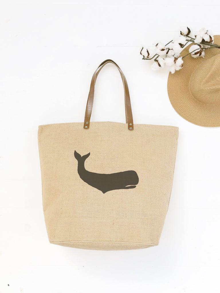 Waterproof Nautical Beach Bag with Whale Design