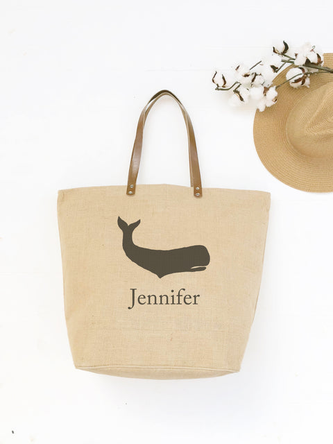 Personalized Whale Beach Bag