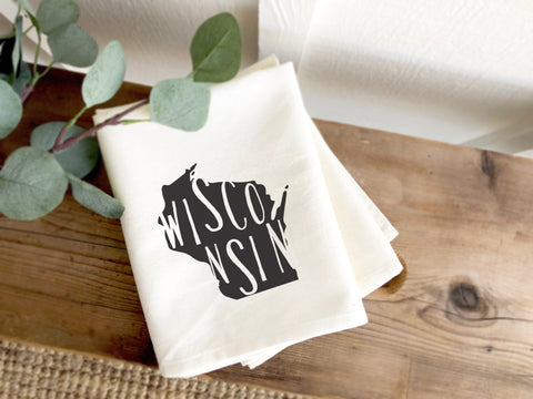 Wisconsin State Silhouette Tea Towel