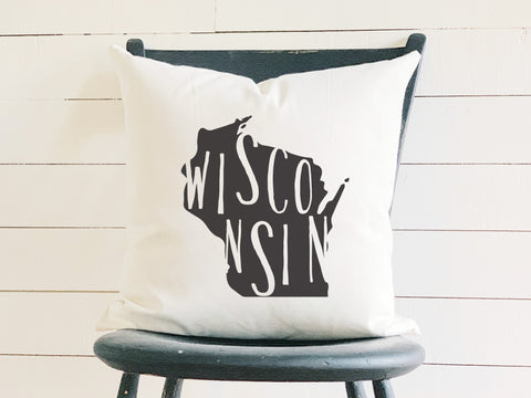 Wisconsin Home State Silhouette Throw Pillow