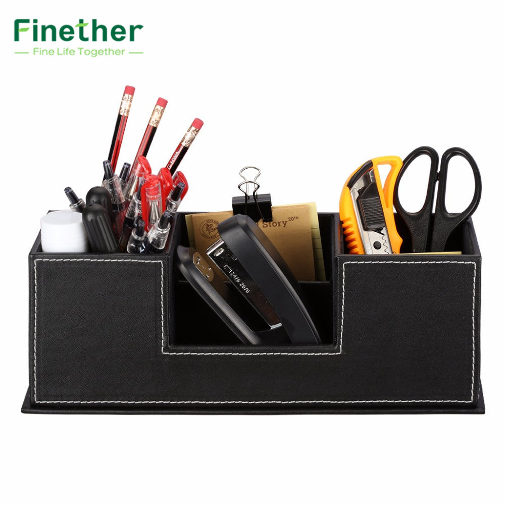 Finether Leather Office Desk Storage Organizer for Stationery Pen Desk Supplies