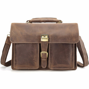 "TIDING Men Genuine Leather 15"" Laptop Bags Large Tote Briefcase"