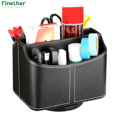 Finether Storage Box Multifunctional 2 Grids Desk Pen Holder