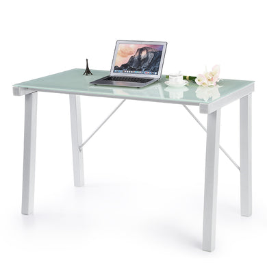 iKayaa Computer Desk Table PC Laptop Office Workstation Tempered Glass Top