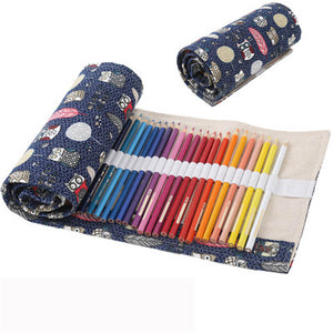48 Holes Beautiful Pencil Bag Wrap Roll Up
