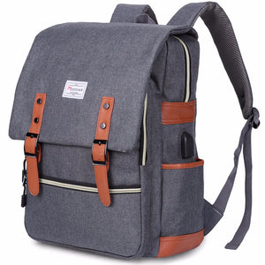 Modoker Vintage Laptop Backpack With USB Charging Port Lightweight School College Bag Rucksack Fits 15-inch Notebook, Grey
