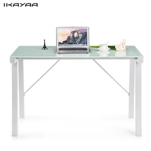 iKayaa US FR Stock Computer Desk Table PC Laptop Office Workstation Tempered Galss Top Study Desk Office Furniture